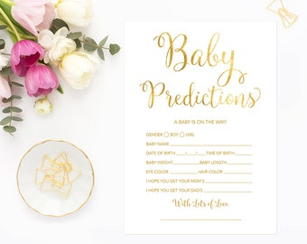 Gold Baby Predictions Card Printable, Gender Neutral Baby Shower, Gold Baby Shower Game, Baby Predictions Game, GFBS, INSTANT DOWNLOAD