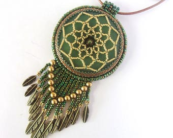 Dreamcatcher embroidered Necklace , Necklace Medallion green and golden