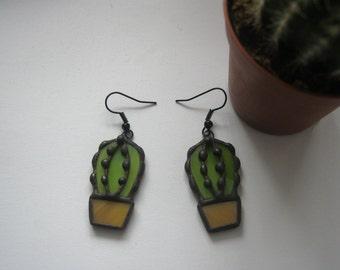 Cactus dangle earrings Stained glass earrings Tiffany style jewelry Modern Handmade