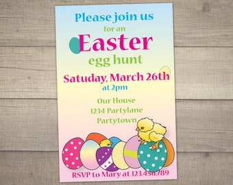 Egg Hunt Invitation, Easter Brunch Invitation , Easter Party Invitation , Baby Chick Invite -digital file,printable.With FREE Thank You card