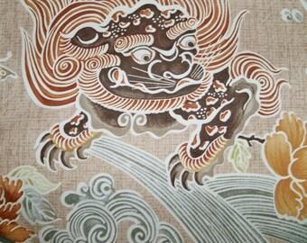 BRUNSCHWIG & FILS Chinoiserie SHISHI Dog Toile Fabric 10 Yards Brown Green