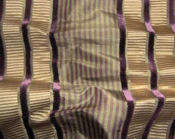 KRAVET COUTURE IMPEND Silk Velvet Stripes Fabric 10 Yards Plum Purple Gold