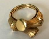Avon Bamboo Style Gold Tone Adjustable Size Ring Signed