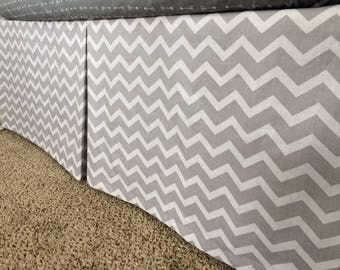 Grey Chevron Crib Skirt- Neutral Baby Bedding- Chevron Baby Bedding