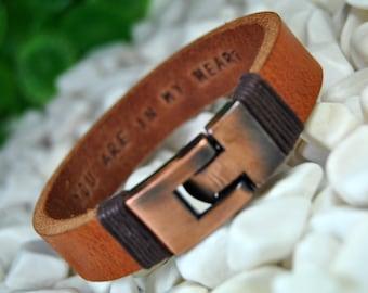 FAST SHIPPING - Personalized Leather Bracelet, Light Brown Leather, Men Bracelet, Hidden Message, Custom Bracelet, Engraved Bracelet, Copper