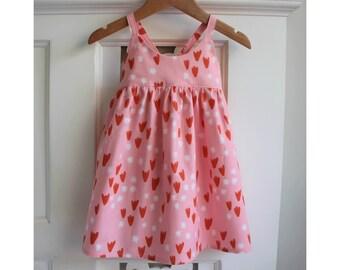SALE Baby Girls Dress Size 1 Hummingbird Dress / Pink Cotton Dress / babies clothing / Summer Dress Toddler Dress /  sun dress