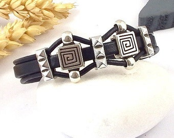 Kit tutorial bracelet black leather 3 son beads and silver plated clasp
