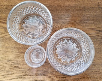 Vintage Pressed Glass Bowl Set with Silver Plate Rims