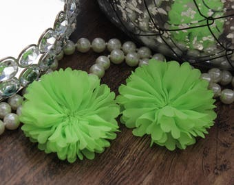"Set of 2 - 2.5"" Lime Green Ruffle Chiffon Ballerina Flowers Scalloped Fabric Flowers - Fluff Vintage Large DIY Unfinished  - TheFabFind"