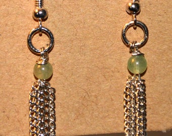 Green, Multi-Chain Earrings, Silver Finish