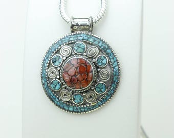 Feel the Love! Coral Turquoise Native Tribal Ethnic Vintage Nepal Tibetan Jewelry OXIDIZED Silver Pendant + Chain P3957