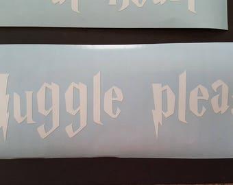 Muggle please car decal