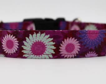 Purple, Pink and Mint Dog Collar, Girl Dog Collar, Handmade Girl Dog Collar, Purple Dog Collar