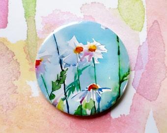 Daisy Watercolour Pocket Mirror