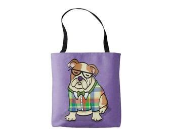 English Bulldog Tote Bag - English Bulldog Lover Gift - Choose Background Color