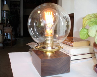 Classic solid walnut table lamp with a glass globe, nautical style brass shade holder and an IN-LINE DIMMER switch