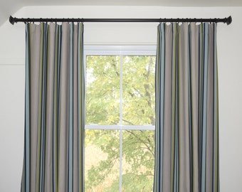 Ripplefold curtains black out lined 2 panels Striped fabric linen black grey green blue turquoise