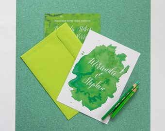 Greenery Water colour Invitations