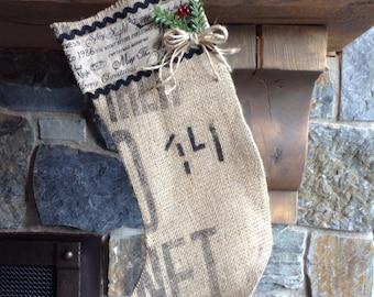 Burlap Christmas Stocking - Greetings Top