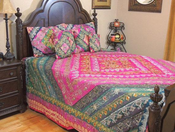 Luxurious Magenta Sequin Bedding Set Handmade Bohemian