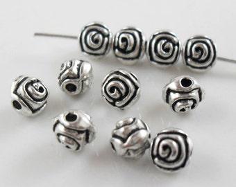 80/600pcs Tibetan Silver Round Rose Flower Spacer Beads 5mm