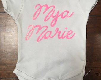 Baby Name Onsie Customizable w/glitter letters