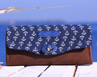 Big Wallet, Purse, Change Purse, Retro anchor blue, the North Sea