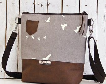 shoulder bag -Birds Grey- Handmade, Unique, Swallows, ZwillingsZwirn