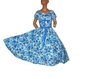 vintage Designer 1950's Full Swing Party Dress Blue Floral Flowers Delight