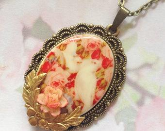 Dove ornaments flowers porcelain cameo necklace