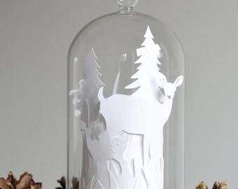 Paper Cut Layered Doe and Fawn Deer Scene Glass Dome Bell Jar (flameless tealight included)
