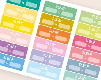 18 blank stickers, sleep tracker sticker, bar sticker, box stickers, planner stickers, slept hours happy planner eclp filofax kikki.k