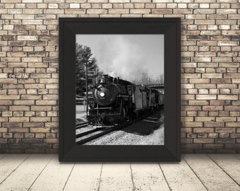 Train Photography, Steam Engine, Railroad, Wall Art, Man Cave, Black and White Pictures, Gift for Men, Home Decor, Office Decor, Masculine