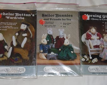 3 Gooseberry Hill Patterns Bachelor Button's Wardrobe, Morning Glory, Sailor Bunnies Uncut & Unused