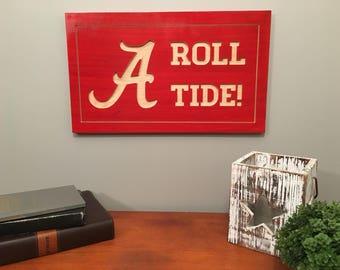 Alabama Crimson Tide-University of Alabama-Roll Tide-University of Alabama Carved Sign-Wooden Sign-Stained