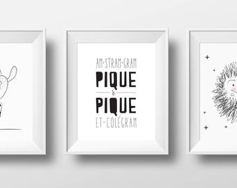 trio hedgehog, Nursery Wall Art,  cactus Nursery Wall Art, nursery rhyme wall art, set of 3