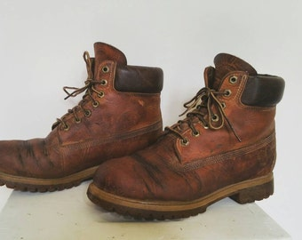 Timberland Classic Mens Leather Boots Size 8.5 US (8 Uk) - Vintage Work Boots