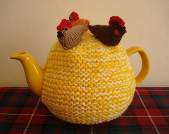 Tea Cosy, Cozy with Chickens on Top Hand Knitted in Yellow and White Yarn