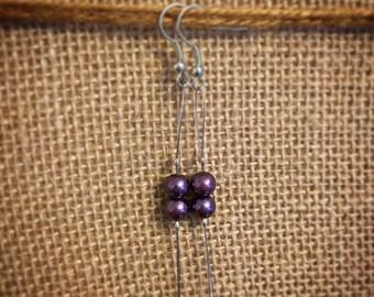 Purple Pearl Earrings, Dark Purple Pearl Earrings, Pearl Earrings, Dangle Pearl Earrings, Elegant Pearl Earrings, Wire Bead Earrings, Pearls