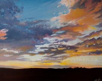 Sunset Landscape Painting 16x20 inch, Sky Art, Home Decor Wall Art