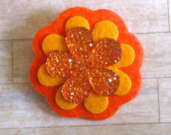 Orange Flower Hair Clip, Flower Hair Clip, Felt Flowers, Fall Colors, Felt Flower Hair Clip,  Flower Barrette