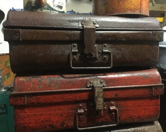 Vintage Metal Industrial Rusty Distressed Red Trunk/Suitcase/Box
