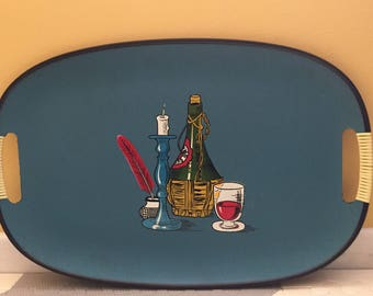 SALE  9.50 Everbright Lacquerware Blue Mid Century Tray