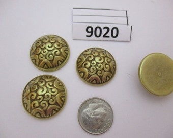 JEF9020:  Package of 4 Vintage Domed Metal Cabochons