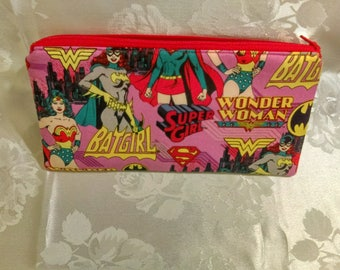 Free shipping supergirl pencil case with red zipper 100% Cotton
