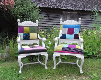 Painted Shabby Chic Antique French Carver Chairs Patchwork Chairs Elbow chairs Arm Chairs X 2