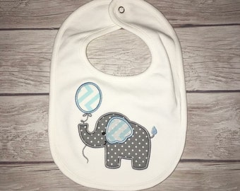 FREE Monogram included! Appliqué elephabt with balloon white baby bib! Customize colors/fabrics!
