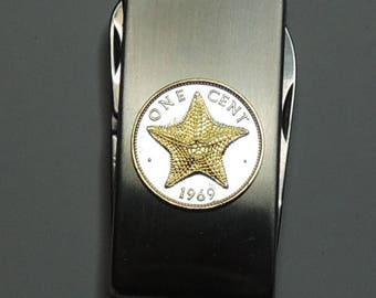 Bahamas  Starfish - Gorgeous 2-Toned (Hand done) Gold on Silver Coin - Combination Knife and scissor Money clip
