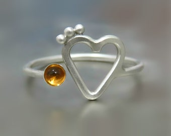 citrine ring, heart citrine ring - sterling silver ring - stackable ring, dainty heart ring - love ring