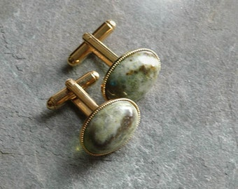 Gold and Connemara Marble Cufflinks  - Set with rare and unusual 13x18mm Connemara marble -  Gift boxed and posted from Ireland.